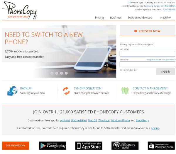 PhoneCopy.com home page